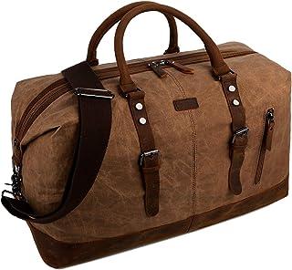 BAOSHA Gewachste Segeltuch Herren Reisetasche Übergroße Weekender Tasche Canvas Travel Bag Handgepäck for Männer Wasserdicht HB-14 Braun