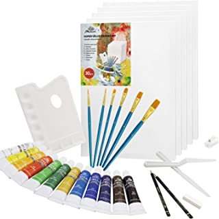 PHOENIX 30-Piece Canvas Painting Kit with 5 Pack 16x20 Inch Stretched Canvas, 12x12ml Acrylic Paints, 6 Paint Brushes, 2 G...