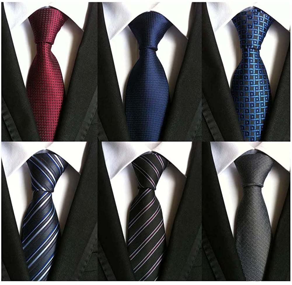 WeiShang Lot 6 PCS Classic Men's 100% Silk Tie Necktie Woven JACQUARD Neck Ties : Clothing, Shoes & Jewelry