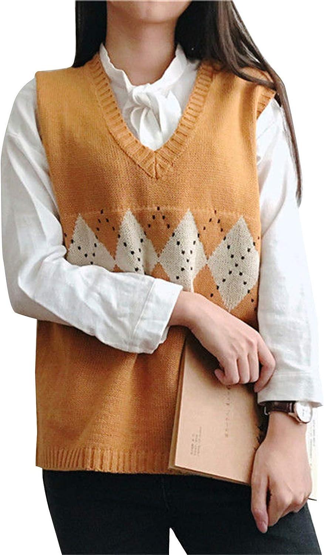 Women's Knitted Cotton V-Neck Vest JK Uniform Pullover Y2k 90s E-Girl Sleeveless Crop Sweater School Cardigan (Dotted Grid Khaki,X-Large)