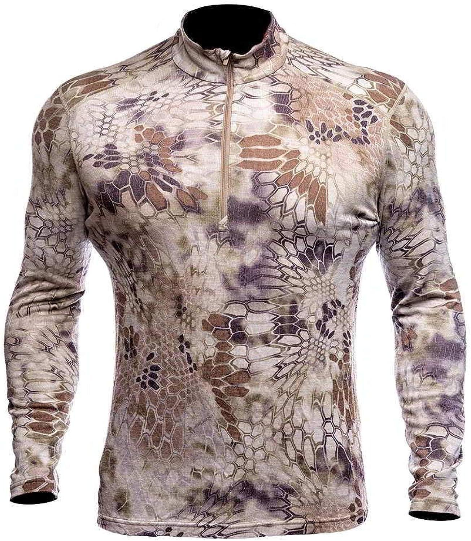 Kryptek Men's Hoplite II Merino Wool 1 4 Zip Midweight Long Sleeved Camo Shirt, Highlander