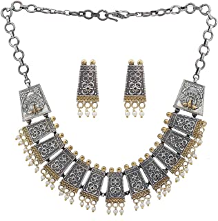 Vintage Boho Inspired Oxidized Intricate Crafted Statement Necklace Indian Ethnic Fashion Jewelry for Women