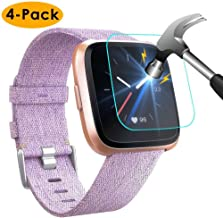 NANW [4-Pack] Screen Protector Compatible with Fitbit Versa / Versa Lite Edition Smartwatch (Not for Versa 2), Tempered Glass Waterproof Screen Glass Cover Protector (Anti-Scratch/No-Bubble/Ultra Clear)