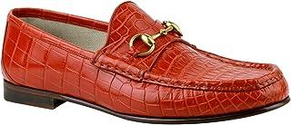 59975e2a401 Gucci Gold Horsebit Red Orange Crocodile Leather Loafer Shoes 307929 6432 ( 10 G   10.5