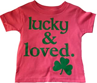 Big Girls Lucky and Loved Irish Shamrock T-Shirt Pink