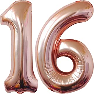 Rose Gold Number 16 Balloon for 16th Birthday - Large, 40 Inch | Number 16 Rose Gold Ballon, Foil Mylar Rose Gold 16 Ballo...