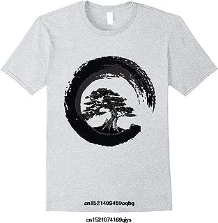 Bonsai Tree in Enso Circle Buddhist Zen Calligraphy T Shirt Short Sleeves Cotton Fashion T-Shirt Brand : Army Green, 4XL