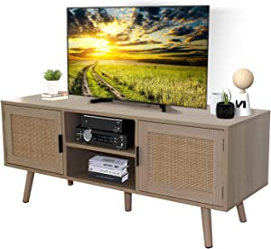 TV Stand for TV's Up to 50 inch Retro Entertainment Center Farmhouse Media Console Cabinet with 2 Natural Rattan Doors Oak Wood Look Finish for Living Room Bedroom Office