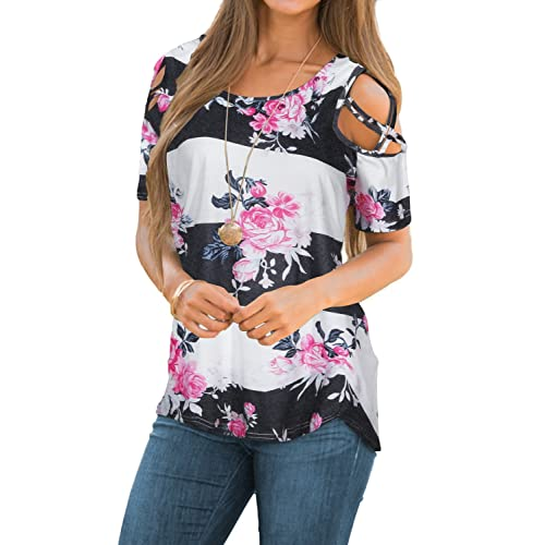 3cb3124869e43 CEASIKERY Womens Floral Blouse Loose Strappy Cold Shoulder Tops Casual T  Shirts