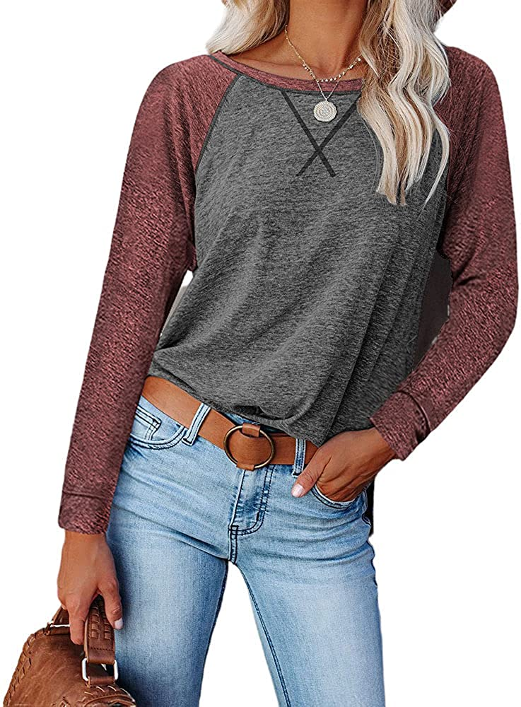 Guteidee Womens Casual Color Block Long Sleeve Round Neck T Shirts Blouses Sweatshirts Tops