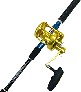 EAT MY TACKLE Big Daddy Combo 30-50 lb. Saltwater Jigging Rod and 18-Wide 2 Speed Reel