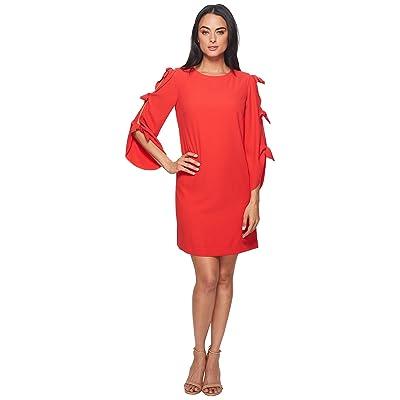 Tahari by ASL Long Sleeve with Ties Shift Dress (Fiesta Pink) Women