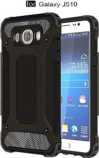 pinlu® Funda para Samsung Galaxy J5 (2016 Version, 5.2 Pulgada) J510 Doble Capa Híbrida Armadura Silicona TPU + PC Case Duradero Protección Anti-Rasguño Shock-Absorción Diseño Negro
