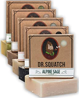 Dr. Squatch Men's Soap Sampler Pack (5 Bars) - Cool Fresh Aloe, Gold Moss, Pine Tar, Cedar Citrus, Bay Rum Bars - Natural ...