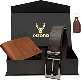 Rizoro Premia Brown & Tan Leather Mens Belt & Wallet Accessory Combo Gift Set for Men with Gifting Box (MG111)