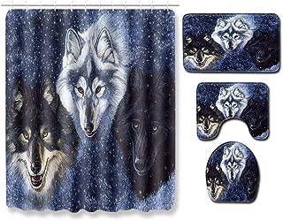 YANQ 4 Piece Bathroom Rug Set Wolf's Call for Wild Outbreak-a-180180cm+5080cm