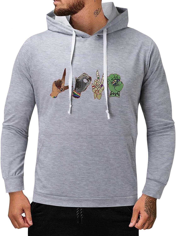 Men's Sweatshirts Graphic Funny Print Hooded Sweatshirts Solid Long Sleeve Male College Novelty Fashion Hoodies