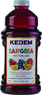 Kedem Sangria Soft Drink, Made of 100% Pure Juice, 64oz, (2 Pack), No Sugar or Artificial Coloring Added