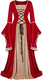 Womens Renaissance Medieval Dress Costume Irish Lace up Over Long Dress Retro Gown Cosplay