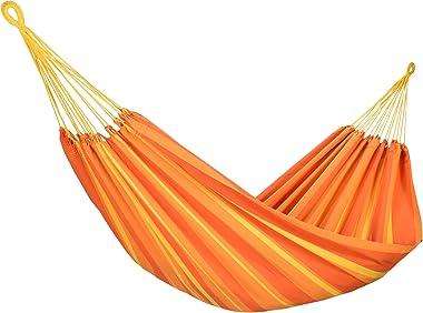 Amalyssa - Hamac Brésilien : Carnaval Papaya - Coton Bio - Orange & Jaune - Toile Résistante - Confort & Solidité - S
