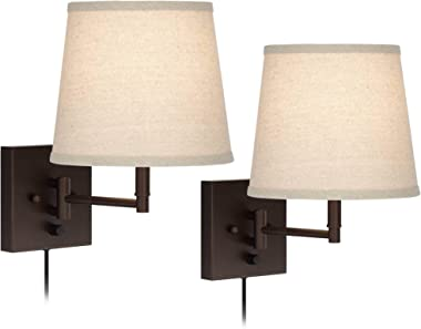Lanett Modern Swing Arm Wall Lamps Set of 2 Painted Bronze Plug-in Light Fixture Oatmeal Linen Empire Shade for Bedroom Bedsi