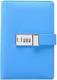 Binder Journal with Combination Lock (Binder Diary with Combination Lock), Size: 18.5cm X 13.5cm. PU Leather Multi Color Combination Lock Journal (Combination Lock Diary) (New Blue)