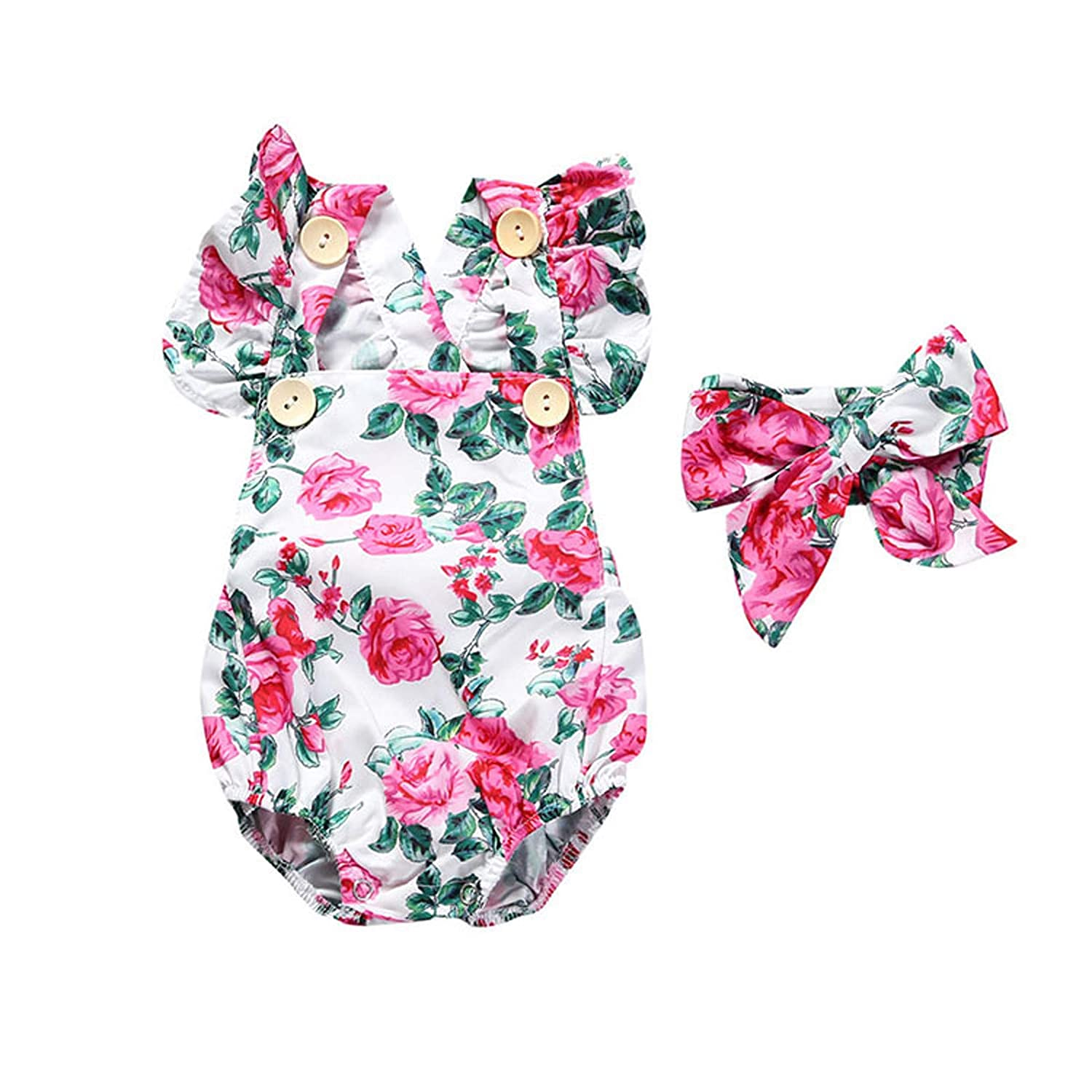 Newborn Kids Baby Girls Front Suit Romper Button Jumpsuit Floral Free Soldering shipping New