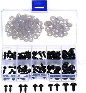 100 Piezas 6 a 12 mm Ojos de Seguridad de Plástico Ojos Sólidos Negros con Arandelas para Oso de Peluche, Oso, Muñeca, Marioneta y Manualidades