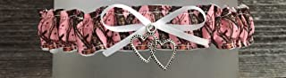 Sexy Pink Camouflage White Satin Wedding Tossing Toss Bridal Garter - Silver Double Heart Charm