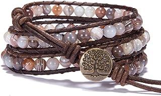 Bonnie Wrap Bracelet Leather Gemstones Beaded Tree of Life Button for Women