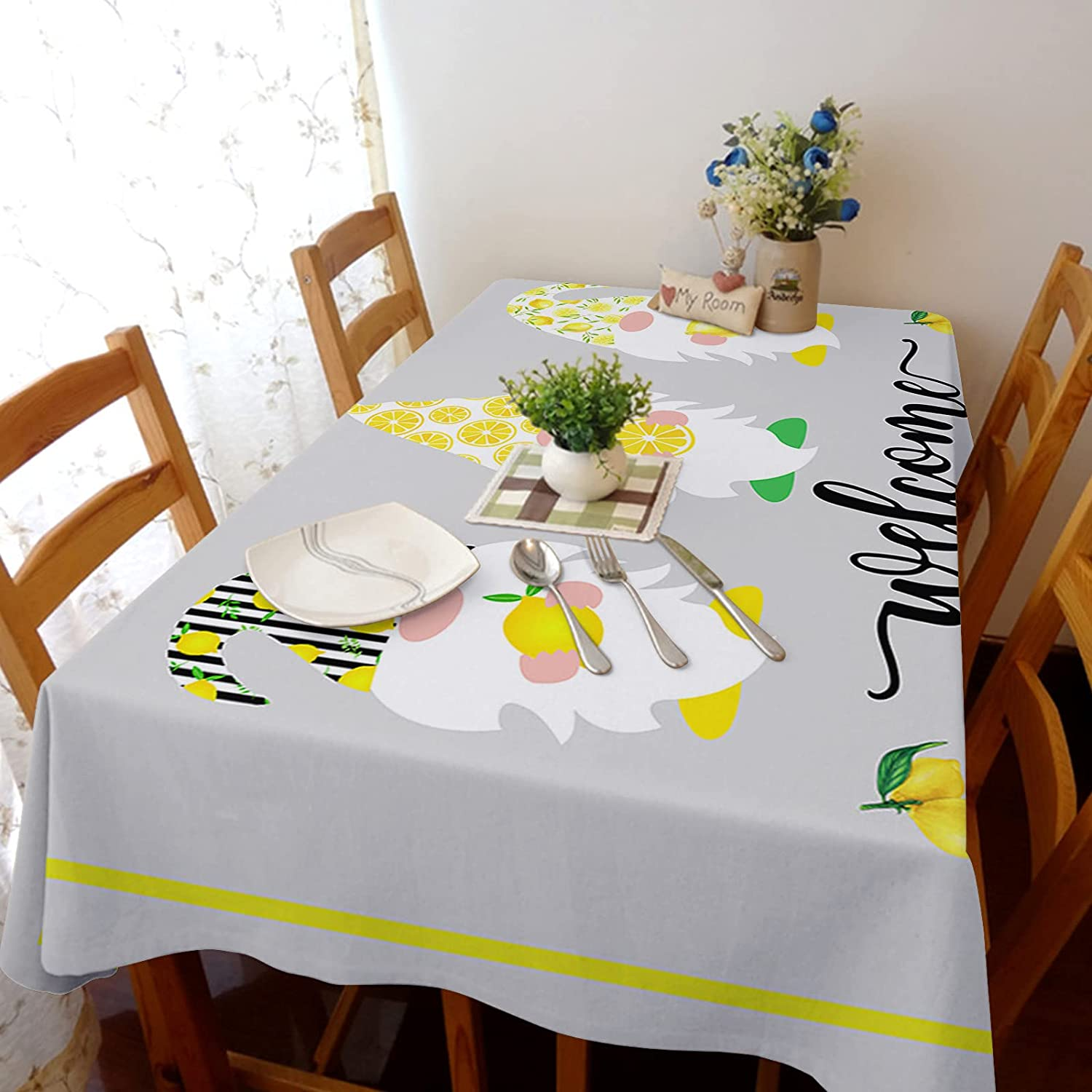 shop Queenker Rectangle Tablecloth Dining Table Lemon Max 58% OFF Cover Gnom Farm