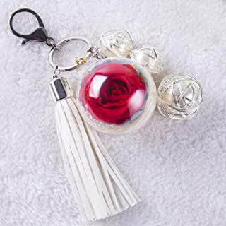 NW 1776 Hand-Made Flowers Never Fade Keychain,Plush Ball, Eternal Flowers Perfect Clothing and Bag Accessories Gift with f...