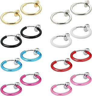 Fake Nose Ring Hoop Clip on Earrings Fake Septum Non Piercing Spring Hoop Earrings Lip Ring Fake Cartilage Earrings for Women Girl (16 pcs)