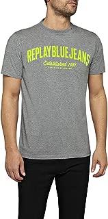 Blue Jeans Bright Felted Logo Men's T-Shirt, Grey Melange