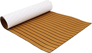 Mophorn 94.5 X 47 Inch EVA Foam Faux Teak Non-Slippery Self-Adhesion Decking Sheet for RV Swimming Pool Garden Boat Yacht Marine Flooring in Wet Dry Conditions (Brown with Black Lines)