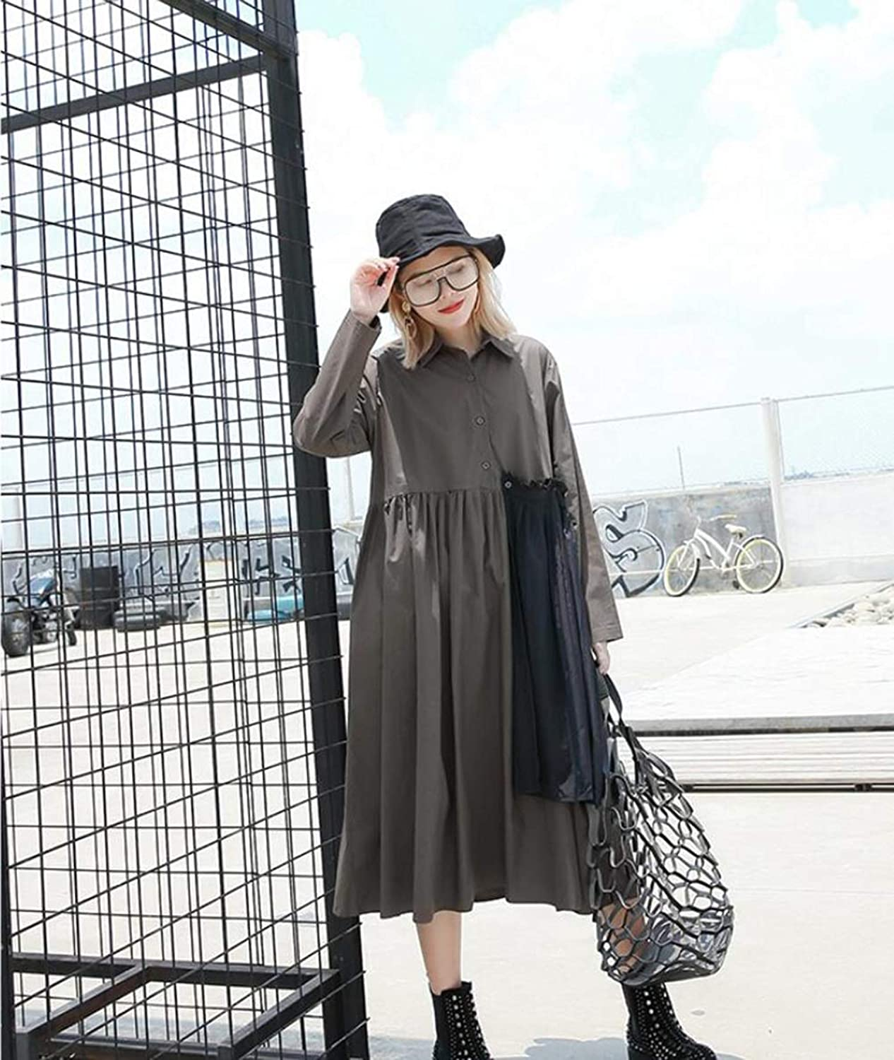 Women's Dress Long Sleeve Pleated Shirt Skirt Loose 2018 Spring Fall Casual Clothing