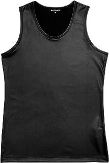 タンクトップ マット 無地 フェイクレザー ストレッチ スリム タンク メンズ ブラック黒 181311