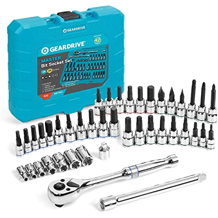 GEARDRIVE 42-piece Bit Socket Wrench Set, 1/4'', 3/8'' Drive, Includes 90T Quick-release Ratchet, Torx/Hex/Slotted/Phillips Bit Sockets, Extension & Adapter, CR-V and S2 Steel Made, with Storage Case