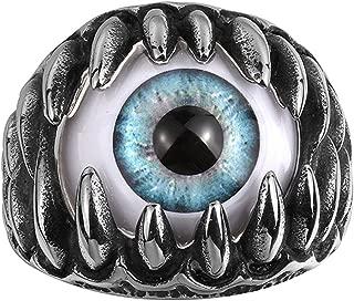 Crazy Blue Eyeball Punk Fashion Stainless Steel Silver Black Ring