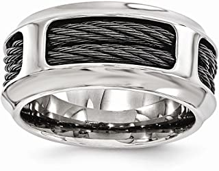 Edward Mirell Stainless Steel Black Titanium Cable 10.75mm Wedding Ring Band Man Fancy Fashion Jewelry for Dad Mens Gifts for Him