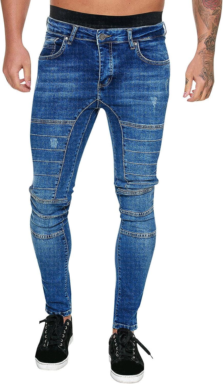 Burband Mens Fashion Ripped Jeans Stretchy Skinny Straight Fit Distressed Slim Fit Hip Hop Moto Biker Denim Jeans Goth Pants