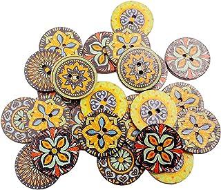 menolana 100 peças de madeira botões decorativos misturados botão de flor redonda com 2 furos para costura enfeites de nat...