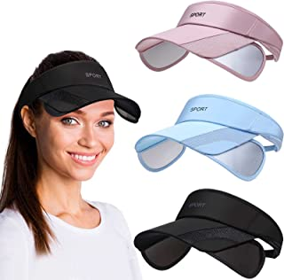 3 Pieces Sun Protection Sports Visor Hats, Wide Brim Sun Hat Adjustable Sport Beach Hat Outdoor UV Protection Hat for Running, Tennis, Golf, Sports (Black, Sky Blue, Pink)