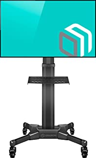 """ONKRON Mobile TV Stand with Mount Rolling TV Cart for 32"""" – 55"""" LCD LED Flat Screen TV with Wheels Shelves Height Adjustable TV Trolley (TS2551)"""