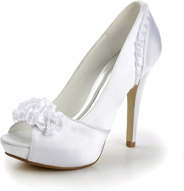 TDA TH12043 Womens Stiletto High Heel Satin Fashion Evening Parting Bridal Wedding Dress Ruched Sandals