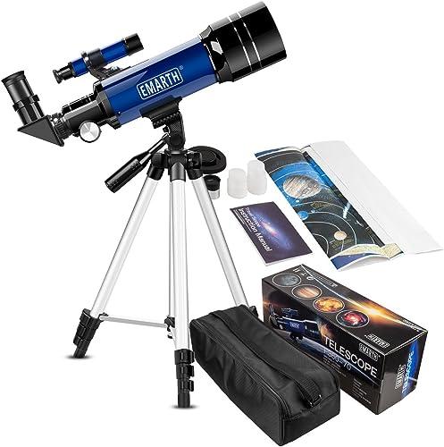 Emarth Teleskop Reisefernrohr 70 mm Astronomisches Refrakter-Teleskop mit Stativ & Suchfernrohr Tragbares Teleskop für Kinder Anf er (blau)