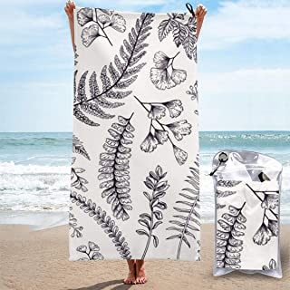 "ANYA TOPSHOP Sand Free Beach Towel Hand Drawn Fern Plant Peacock Grass Simplistic Line Drawing Bath Towel with Bag, Microfiber Throw Towel Fast Dry Absorbent Thin Beach Blanket for Swimming 27.5""X55"""