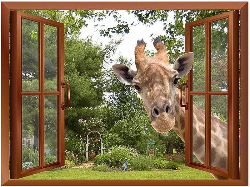 Wall26 A Curious Giraffe Sticking Its Head Into An Open Window Removable Wall Sticker Wall Mural 24 X32