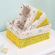 SKGOFGODcw Home Storage Bins Hand made Storage Basket Rattan Woven Fabric Tabletop Coffee Table Sundries Toy Key Basket Co...