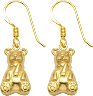 Sterling Silver Teddy Bear Wire Earrings with Gold Tone Finish